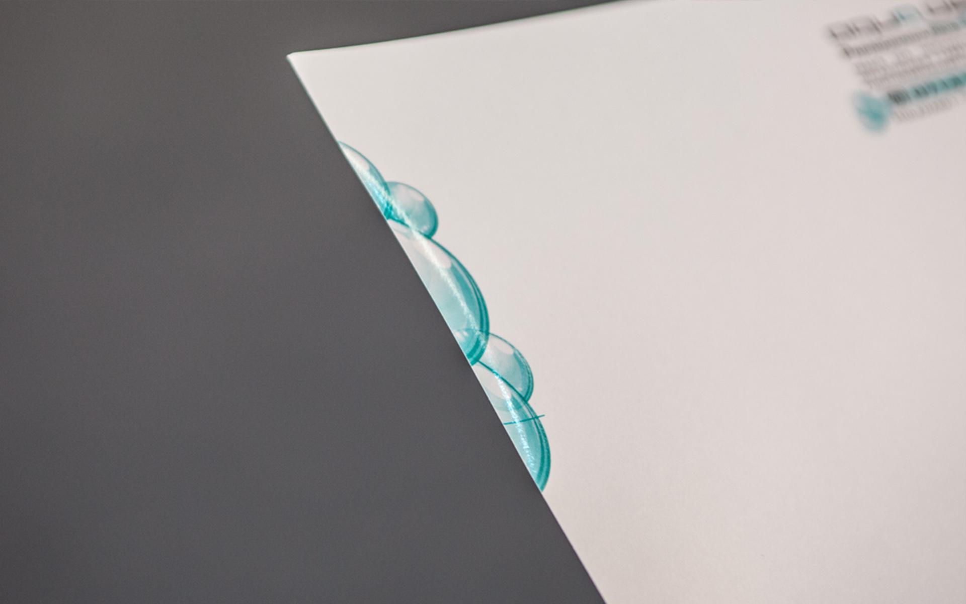 Arztpraxis Briefpapier Druckveredelung Lack