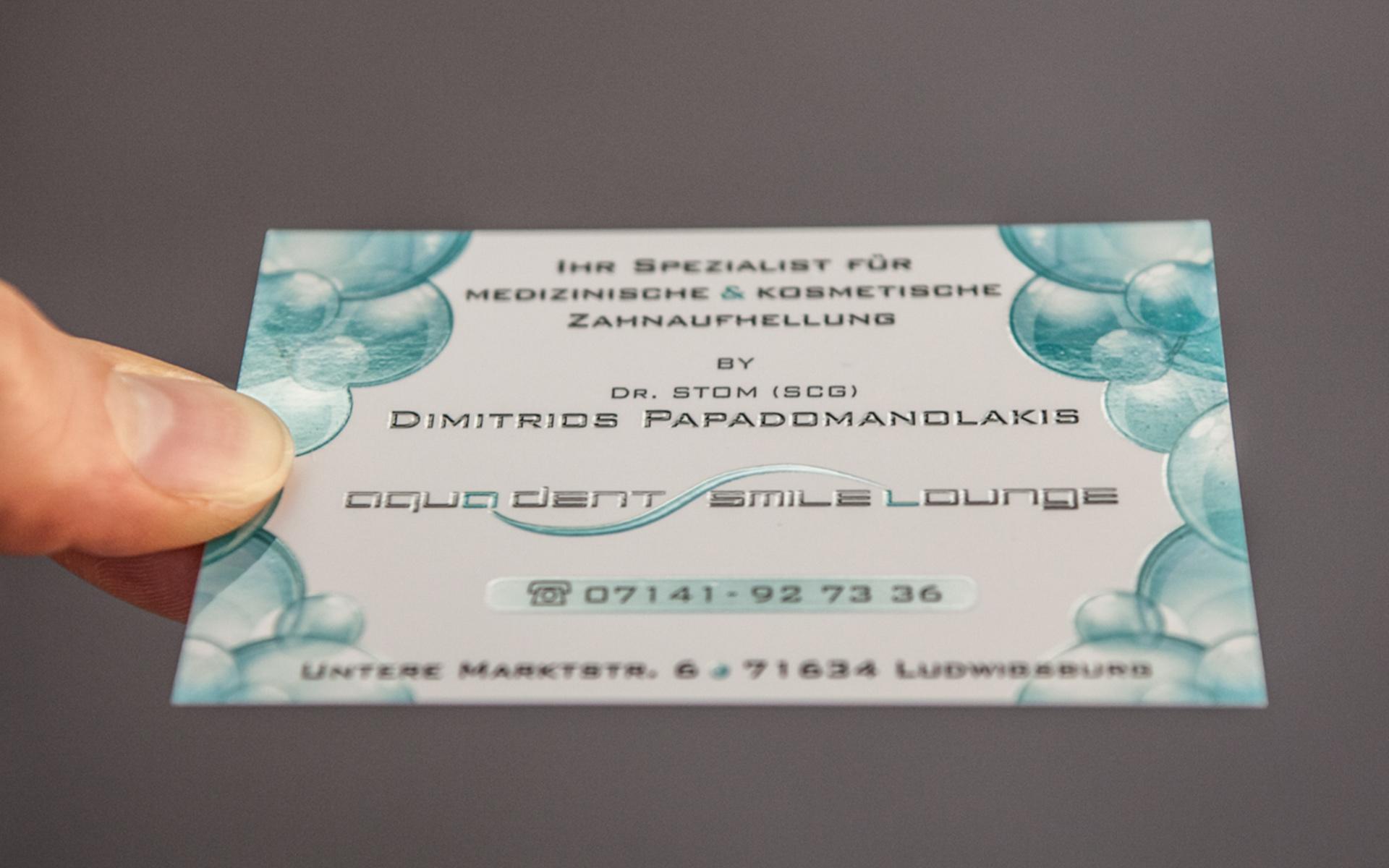 Arztpraxis Visitenkarte Druckveredelung Lack