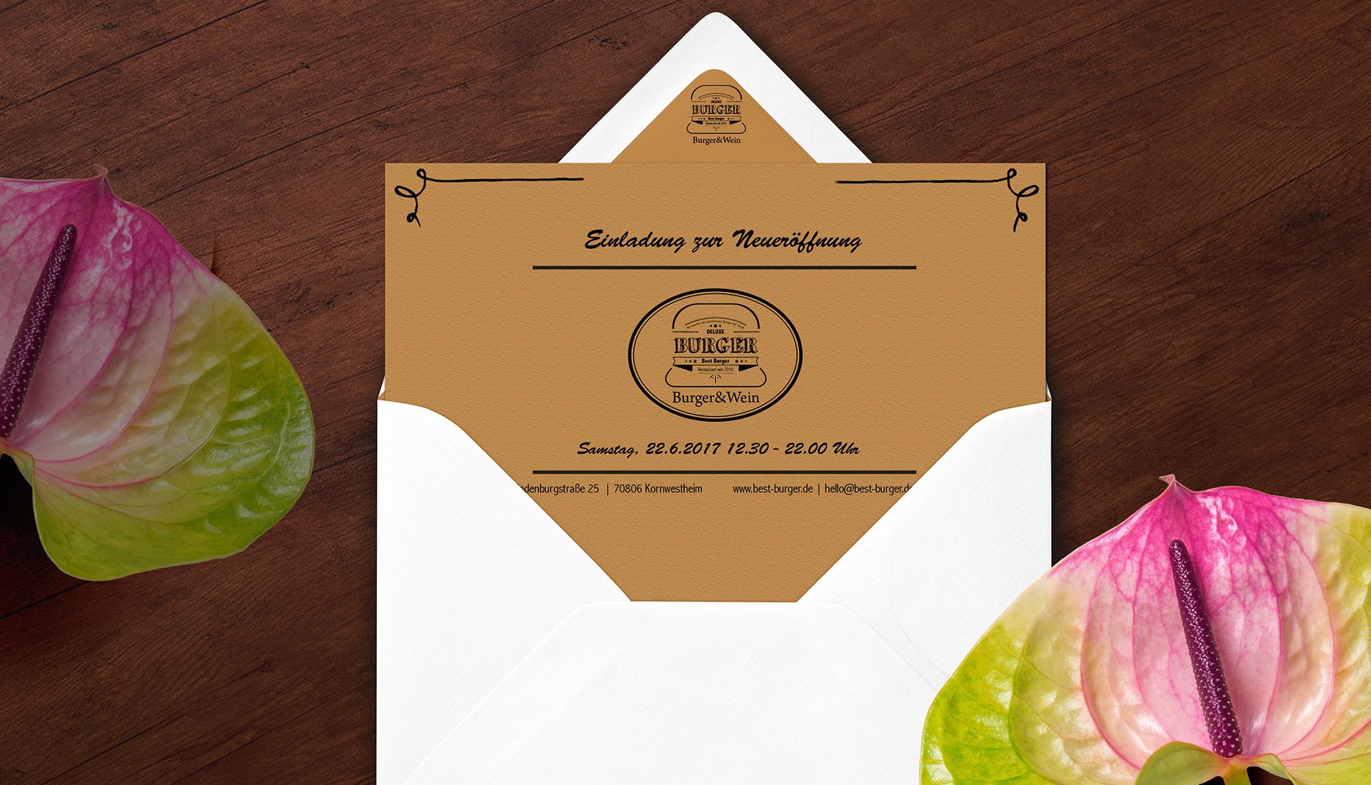 Corporate Design Burger Restaurant, Logo design, Gestaltung von Einladungskarten, Visitenkarten design, Restaurant Design, Menükarten Gestaltung, Einladungskarte