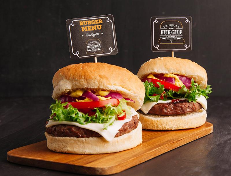 Corporate Design Burger Restaurant, Logo design, Gestaltung von Einladungskarten, Visitenkartendesign